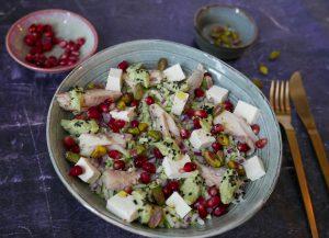 broccolirijst salade met makreel
